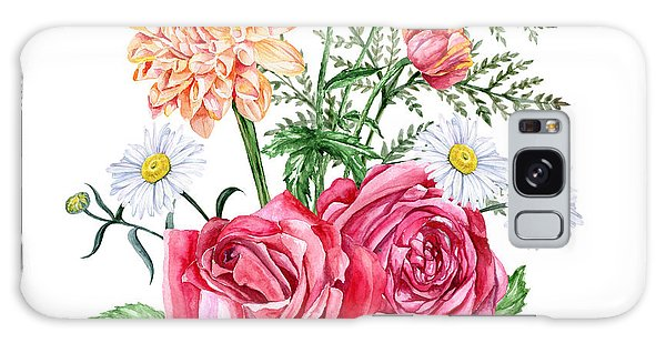 Branch Galaxy Case - Red Roses, Orange Dahlias, Poppies And by Jena velour