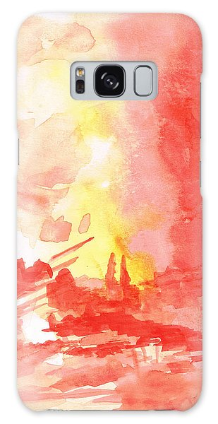 Red Village Abstract 1 Galaxy Case