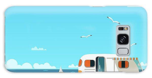 Seagulls Galaxy Case - Retro Caravan On The Beach, Summer by Skoreya