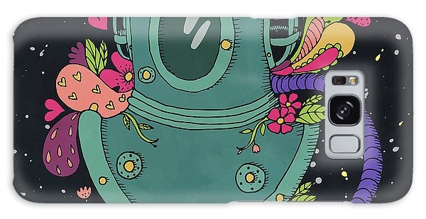 Physical Galaxy Case - Retro Diving Suit With Abstract by Maria Sem