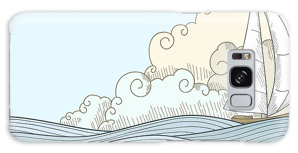 Cloudscape Galaxy Case - Retro Hand Draw Styled Sea With Clouds by Alexeyzet