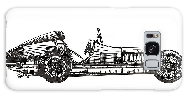 Old Road Galaxy Case - Retro Racing Car On A White Background by Ava Bitter