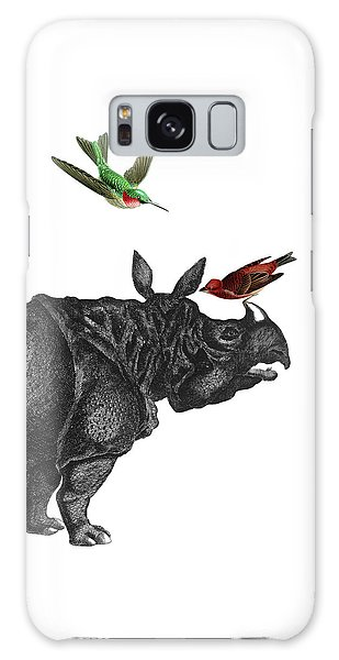 Hummingbird Galaxy S8 Case - Rhinoceros With Birds Art Print by Madame Memento