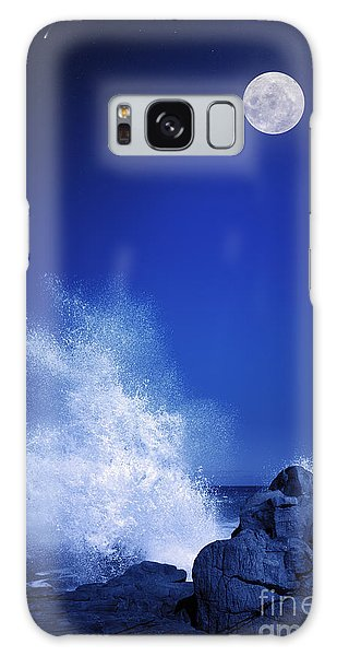 Spirituality Galaxy Case - Rising Moon Over Rocky Coastline At by Johan Swanepoel