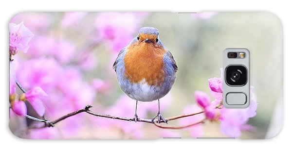 Robin On Pink Flowers Galaxy Case