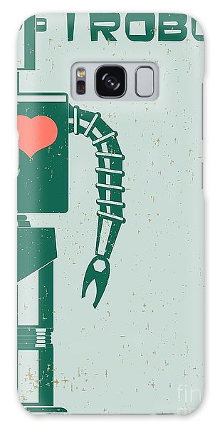 Six Galaxy Case - Robot With Heart On Chest, Retro Poster by Pgmart
