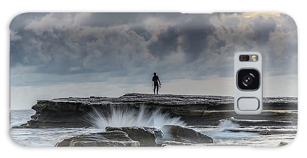 Rock Ledge, Spear Fishermen And Cloudy Seascape Galaxy Case