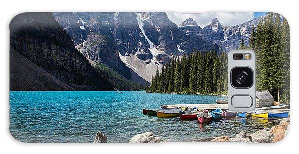 Moraine Lake Galaxy Case - Rocky Mountain View At Moraine Lake In by Treisdorfphoto
