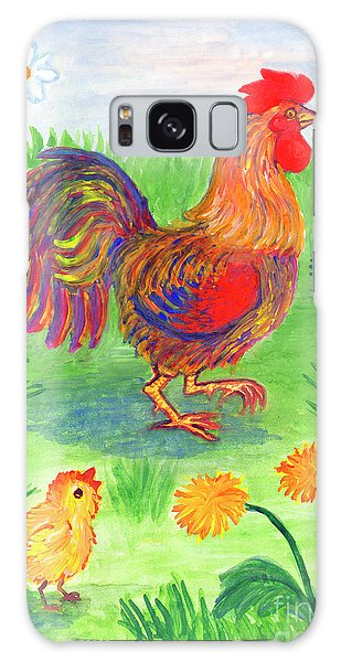 Rooster And Little Chicken Galaxy Case
