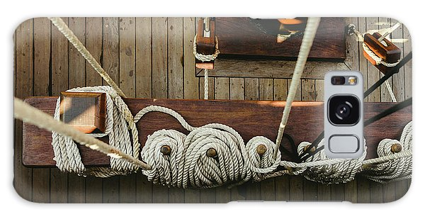 Ropes To Hold The Sails Of An Old Sailboat Rolled. Galaxy Case