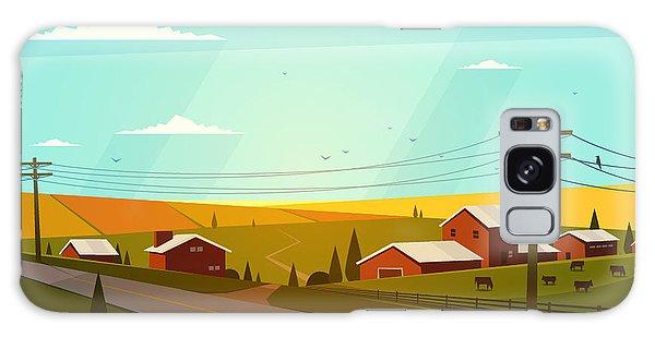 Rural Galaxy S8 Case - Rural Landscape. Vector Illustration by Doremi