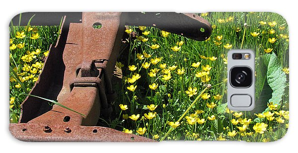 Rusted Wagon In A Field Of Flowers Galaxy Case