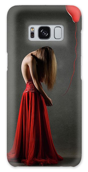 Heartache Galaxy Case - Sad Woman In Red by Johan Swanepoel