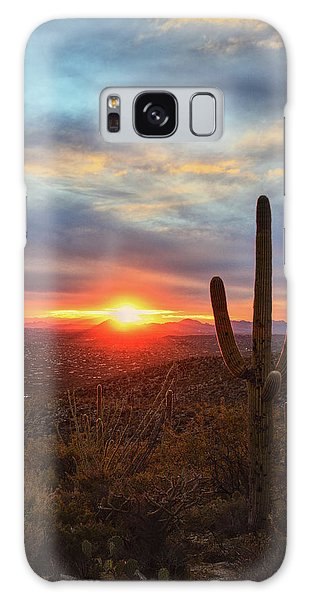 Saguaro Cactus And Tucson At Sunset Galaxy Case