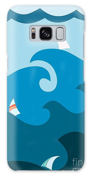 Wind Power Galaxy Case - Sailboat On Stormy Seas by Martin Nezval