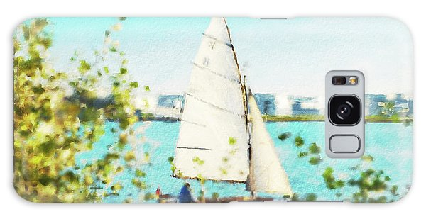 Sailboat On The River Watercolor Galaxy Case