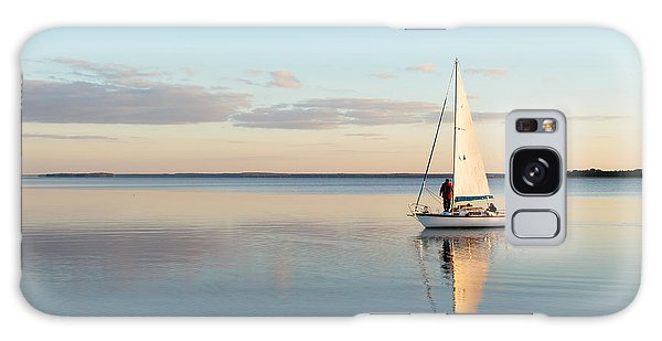 Marina Galaxy Case - Sailing Boat On A Calm Lake With by Wstockstudio