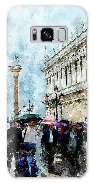 Saint Theodore Sculpture At Saint Mark Square In Venice, Italy - Watercolor Effect Galaxy Case