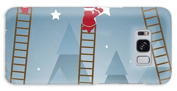 Santa Claus Galaxy Case - Santa Hanging Stars And Christmas by Popmarleo