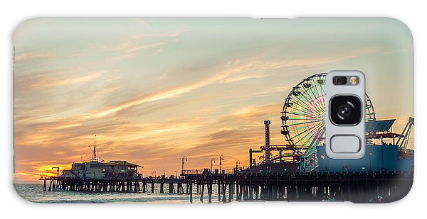Dusk Galaxy Case - Santa Monica Pier At Sunset, Los Angeles by Oneinchpunch