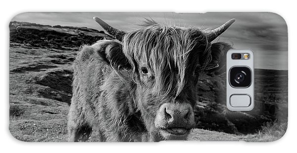 Saying Hello To A Highland Cow At Baslow Edge Black And White Galaxy Case