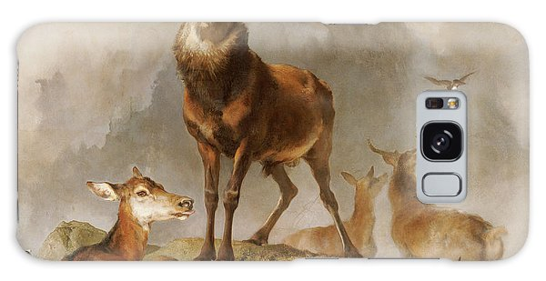 Leash Galaxy Case - Scene In Braemar Highland Deer by Edwin Landseer