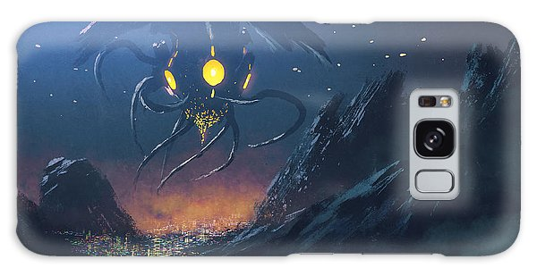 Glow Galaxy Case - Sci-fi Scene Of The Alien Ship Invading by Tithi Luadthong