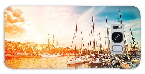 Marina Galaxy Case - Sea Bay With Yachts At Sunset by In Green
