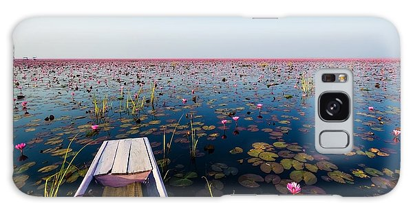 Sea Lily Galaxy Case - Sea Of Red Lotus , Marsh Red Lotus by Mspt
