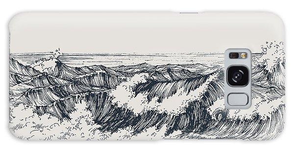 Tide Galaxy Case - Sea Or Ocean Waves Drawing. Sea View by Danussa