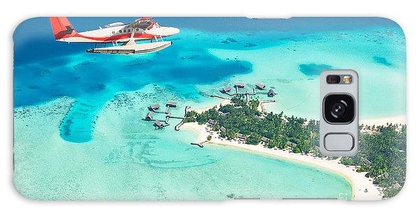 Plane Galaxy Case - Sea Plane Flying Above Maldives Islands by Jag cz