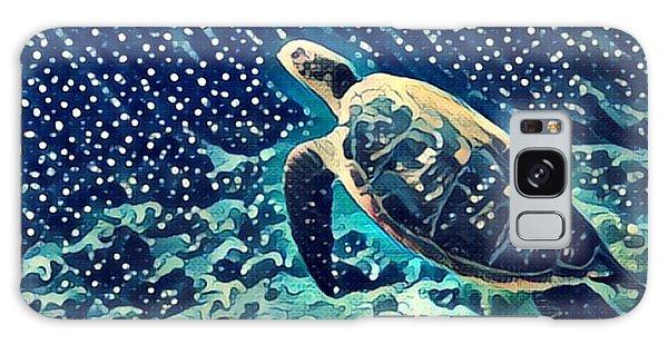 Turtle Galaxy Case - Sea Turtle Swimming Underwater. Digital by Davdeka