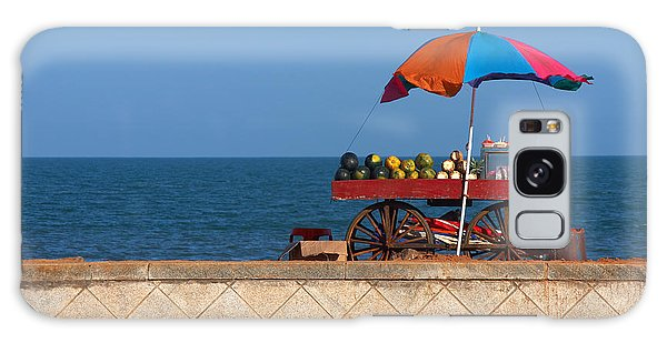 Tasty Galaxy Case - Seafront View Of Vendors Cart With by Polryaz