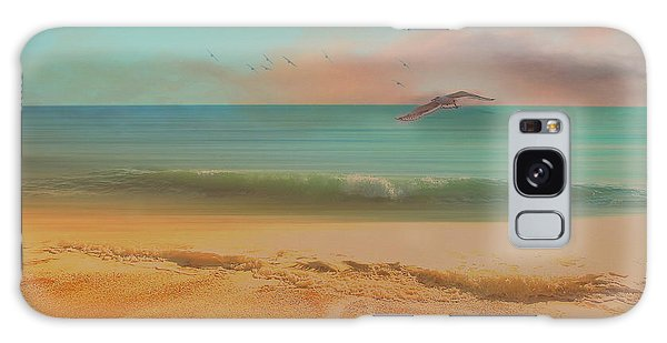 Seagulls Gather At Dusk Galaxy Case