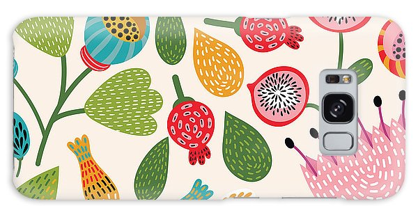 Wrap Galaxy Case - Seamless Floral Pattern by Tets