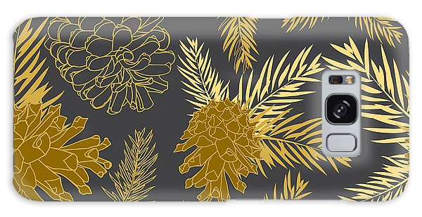 Pine Branch Galaxy Case - Seamless Pattern With Fir-cone by Zinaida Zaiko