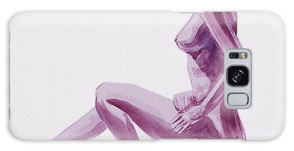 Sitting Nude Galaxy Case - Seated Nude Woman Model In Purple by Irina Sztukowski