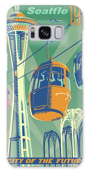 Center Galaxy Case - Seattle Poster- Space Needle Vintage Style by Jim Zahniser