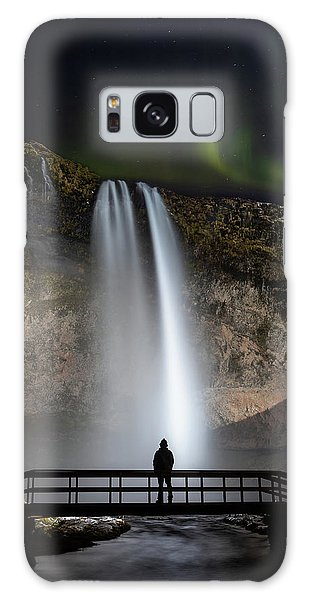 Galaxy Case featuring the photograph Seljalandsfoss Northern Lights Silhouette by Nathan Bush