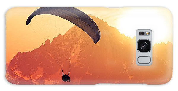 Horizontal Galaxy Case - Sepia Paraglide Silhouette Over Alps by Pavel Burchenko