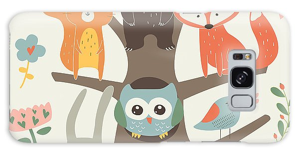 School Galaxy Case - Set Of Forest Animals In Cartoon Style by Kaliaha Volha