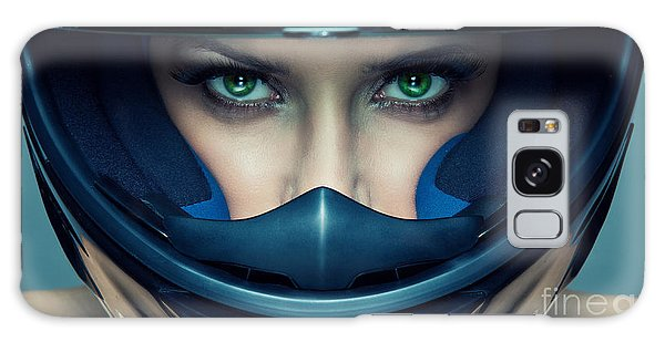 Sport Car Galaxy Case - Sexy Woman In Helmet On Blue Background by Kiuikson