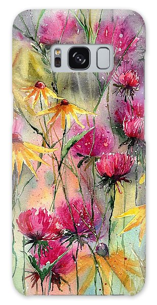 Ecosystem Galaxy Case - Shiny Rudbeckia And Thistle by Suzann Sines