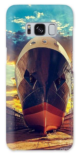 Shipping Galaxy Case - Ship In Dry Dock At Sunrise - Shipyard by Nightman1965