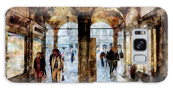 Shopping Area Of Saint Mark Square In Venice, Italy - Watercolor Effect Galaxy Case