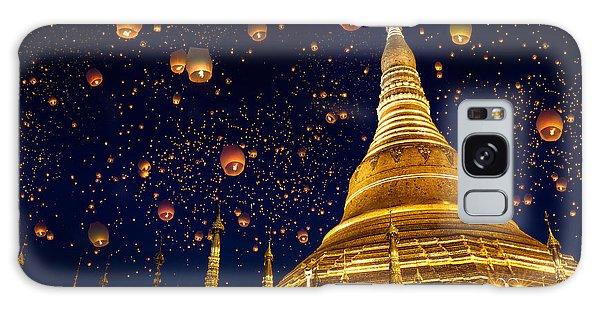 Travel Destinations Galaxy Case - Shwedagon Pagoda With Larntern In The by Krunja