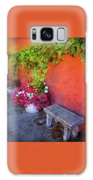 Galaxy Case featuring the photograph Sidewalk Floral In Brownsville by Thom Zehrfeld
