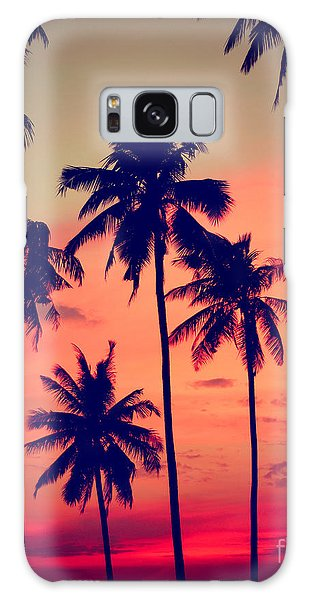 Dusk Galaxy Case - Silhouette Coconut Palm Tree Outdoors by Rawpixel.com