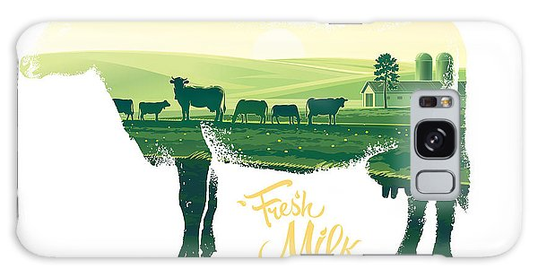 Farmland Galaxy Case - Silhouette Of A Cow Combined With The by Rustic