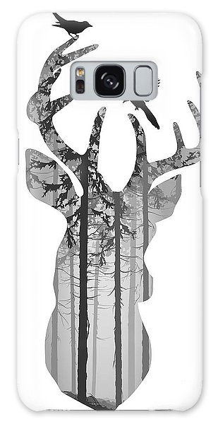 Pine Branch Galaxy Case - Silhouette Of A Head Of A Deer With by Eva mask